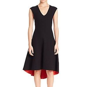 Milly Reversible Fit and Flare Black Red Dress
